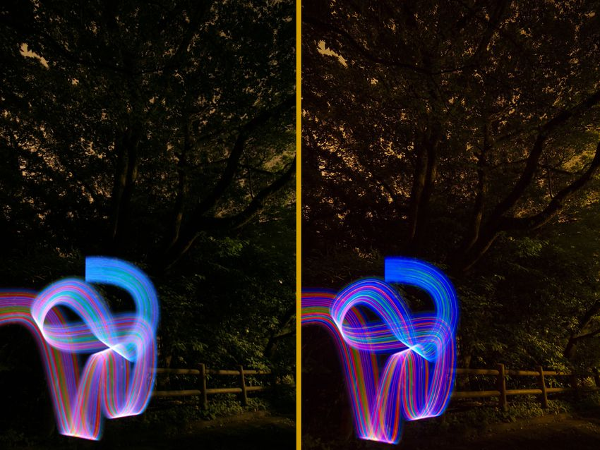 two similar pictures displayed side-by-side show a ribbon of many lights, twisting on itself under dark tree branches